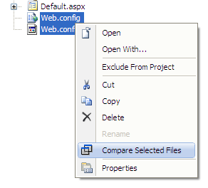 A screenshot illustrating how text files can be compared using WinMerge from within the Visual Studio 2008 IDE