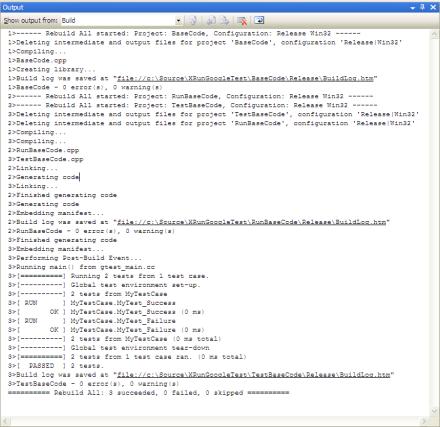 Screenshot of the build log