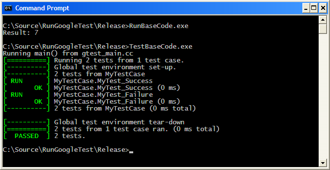 Screenshot of running the code and tests