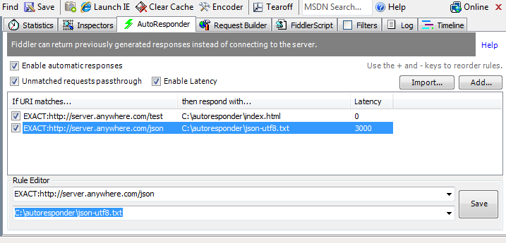 Screenshot of the configured AutoResponder in Fiddler
