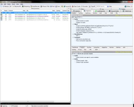 Screenshot of Fiddler user interface