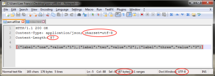 A screenshot of calculating the number of bytes in the html response with Notepad++